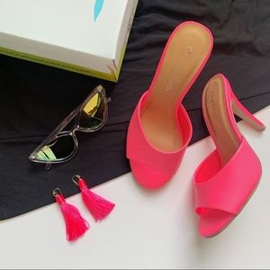 Neon pink slide sandals ladies high heels open toe